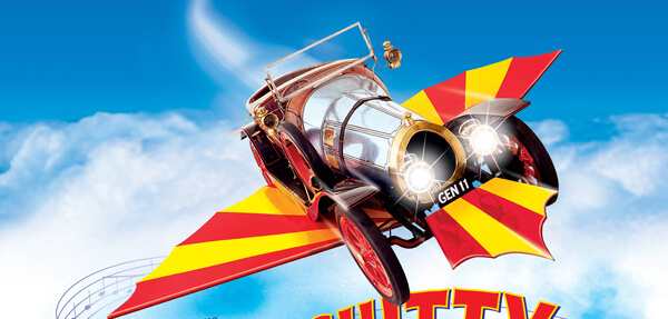 Chitty car in flight
